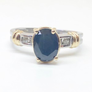 Macy's 14k Two Tone Authentic Natural Blue Sapphire & Diamond Ring