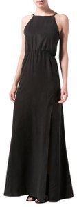 Black Maxi Dress by Stone Cold Fox Maxi Low High Slit Spaghetti Straps Elastic Waistband