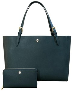 Tory Burch Leather Mother's Day 2pcs Set Gift Tote in Jitney Green
