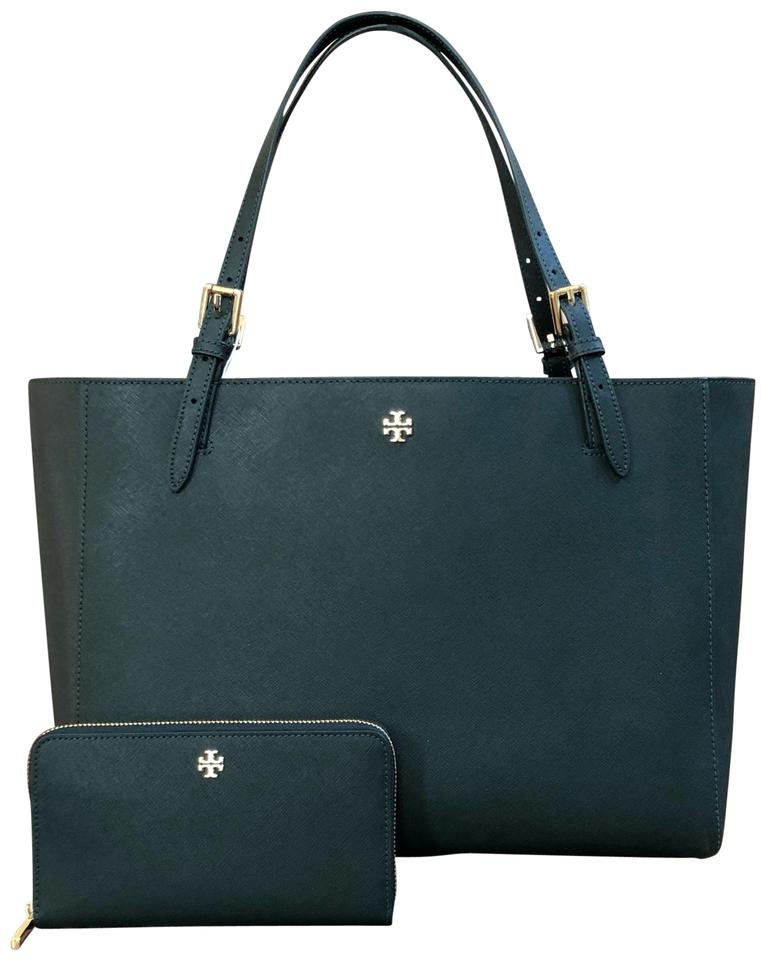 0e9124d291d Tory Burch 2pcs Emerson Buckle Bundled W Lg Continental Wallet Jitney Green  Saffiano Leather Tote