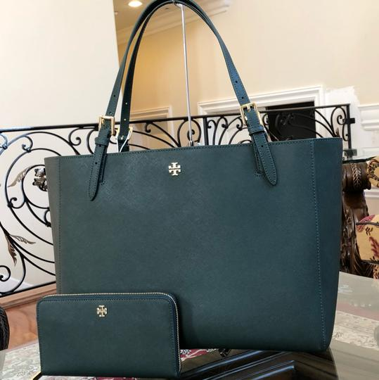 Tory Burch Leather Mother's Day 2pcs Set Gift Tote in Jitney Green Image 1