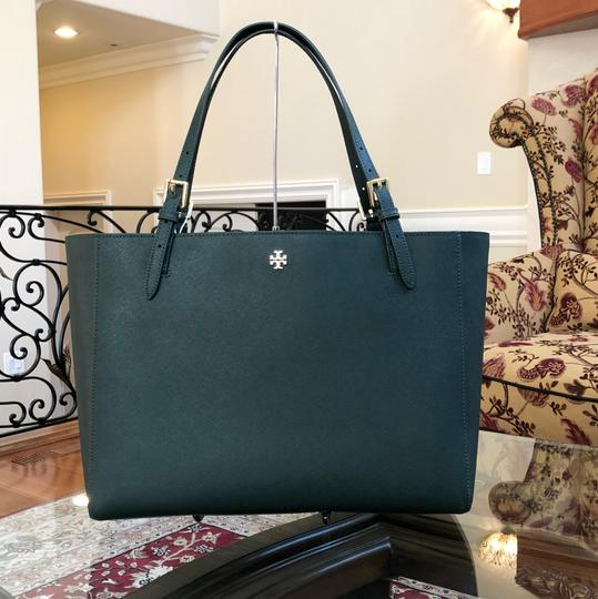 Tory Burch Leather Mother's Day 2pcs Set Gift Tote in Jitney Green Image 2