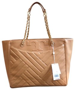 317352ab6702 Tory Burch Quilted Lamb Leather Channel Large 2pcs Tote in Aged Vachetta/256