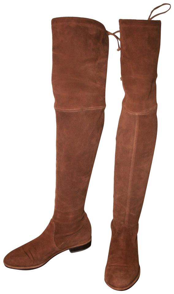0def05c89 Stuart Weitzman Thigh High Over The Knee Suede Flat Walnut Boots Image 0 ...