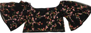 Olivaceous Embroidered Off The Shoulder Crop Top Black floral