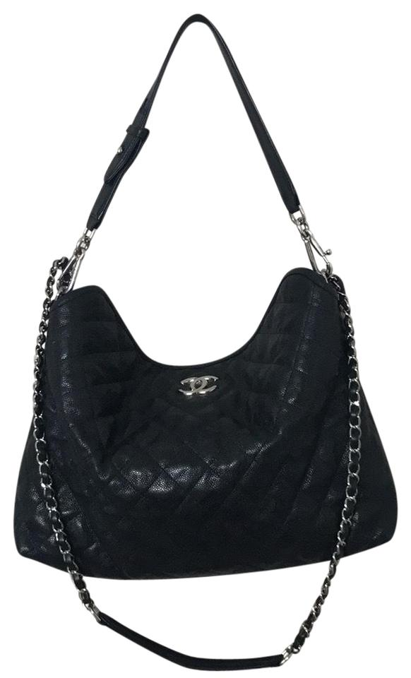 2b44138c3718 Chanel Hobo Quilted French Riviera Black Caviar Leather Shoulder Bag ...