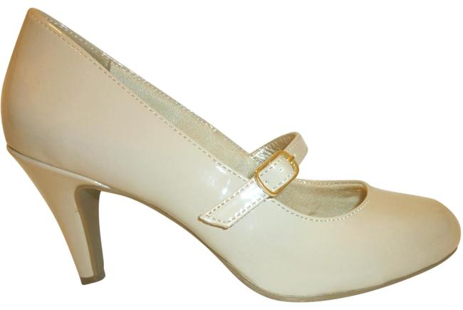 Item - Cream Patent Leather Mary-jane High Heel Pumps Size US 6 Wide (C, D)