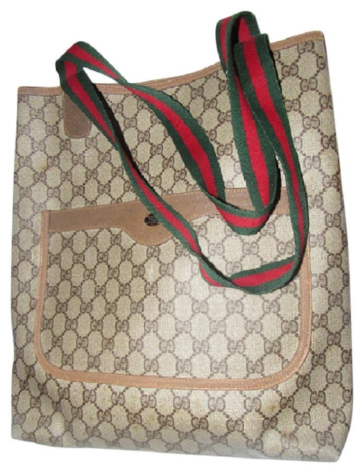 1654600ca75 Gucci Mint Vintage Front Pocket Red Green Straps Tote Satchel Tote in  leather ...