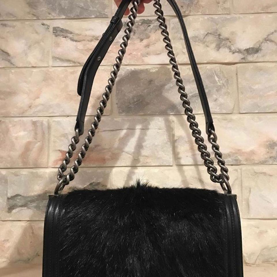 58778cad6edb Chanel Boy Rabbit Fur Black Lambskin Leather Cross Body Bag - Tradesy