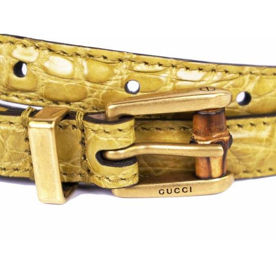 Gucci Women's Crocodile Leather Skinny Bamboo Buckle Summer Buckle 339065 Size 36 Image 2