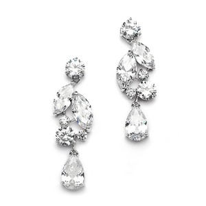 Mariell Silver Top Value Cubic Zirconia Mosaic with Teardrop 4156e Earrings