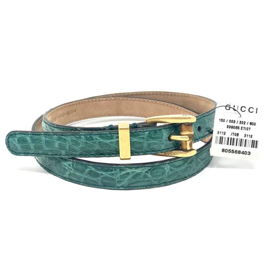 Gucci Women's Crocodile Leather Skinny Bamboo Buckle Summer Buckle 339065 Size 28 Image 1