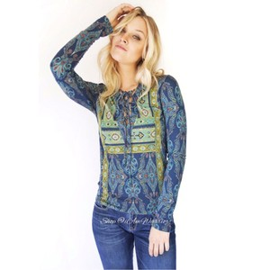 Free People Top Blue-Green