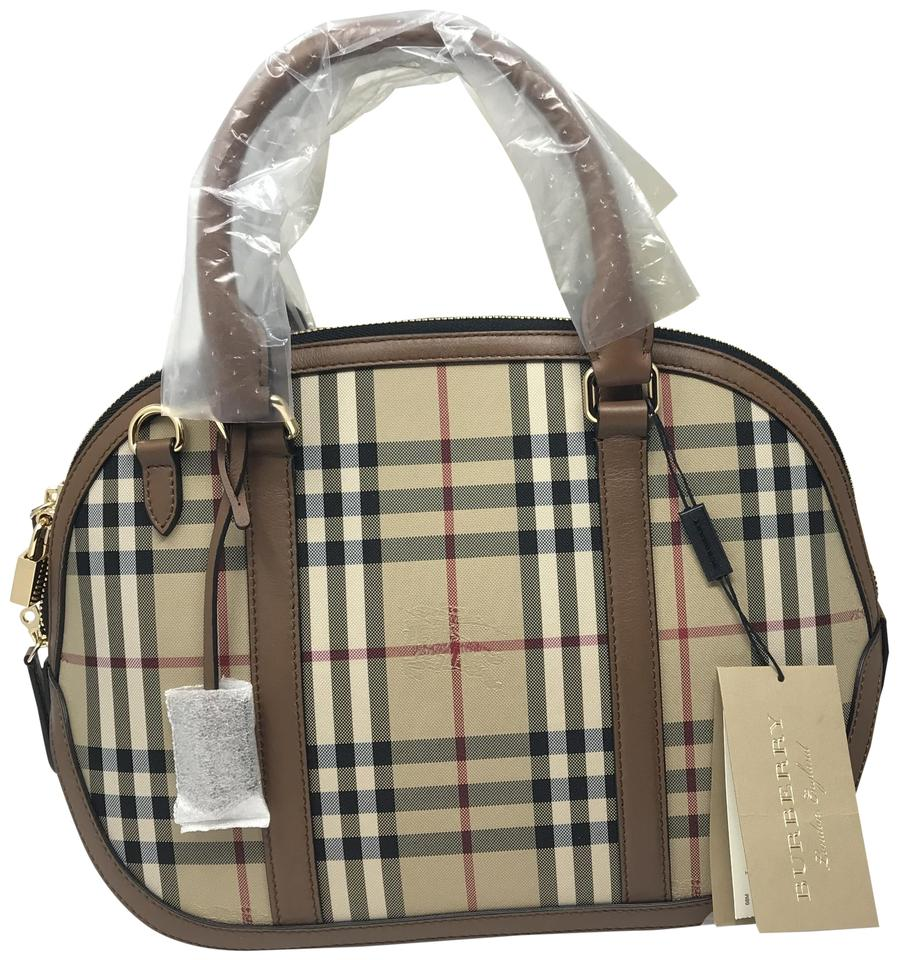 1381c7f3800 Burberry New with Tag Horseferry Check Small Orchard Bowling Beige ...