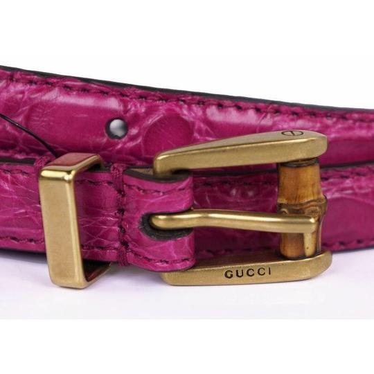 Gucci Women's Crocodile Leather Skinny Bamboo Buckle Summer Buckle 339065 Size 32 Image 1