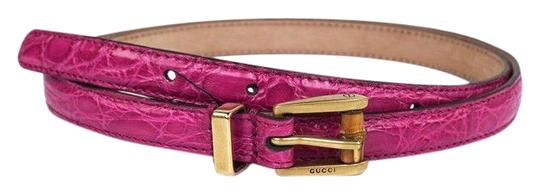 Preload https://img-static.tradesy.com/item/24333545/gucci-pink-women-s-crocodile-leather-skinny-bamboo-buckle-summer-buckle-339065-size-32-belt-0-3-540-540.jpg