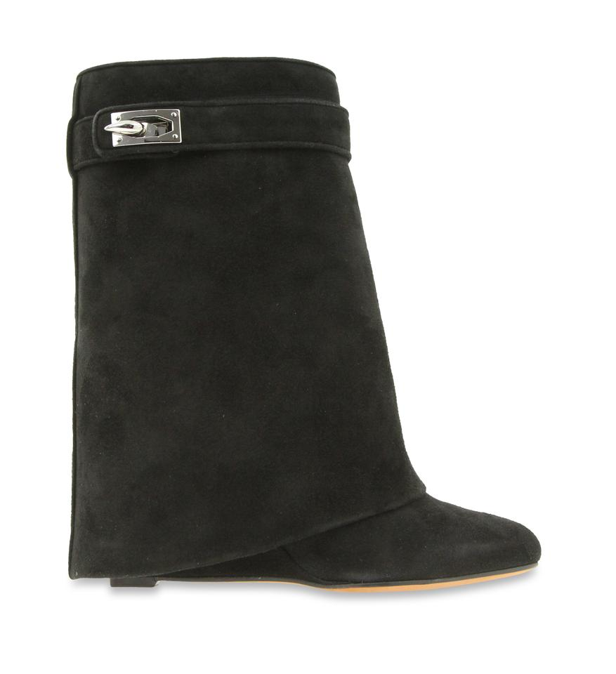 e1157ca57408 Givenchy Black Suede Shark Lock Boots Booties Size EU 37.5 (Approx ...
