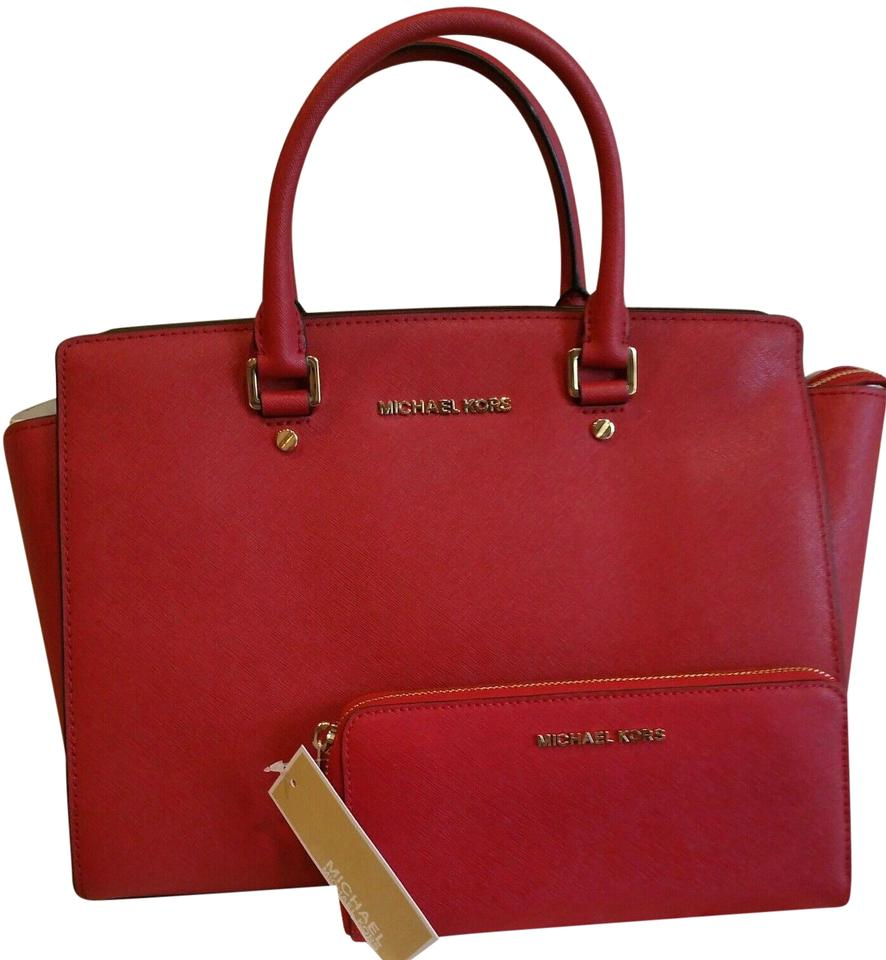 Michael Kors Saffiano Leather Mk Large Selma Crossbody Strap Matching Wallet  Satchel in RED Gold ... e5be816df
