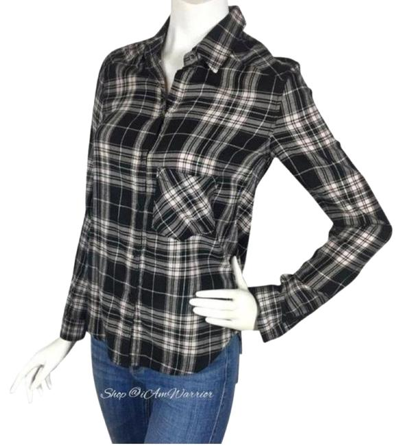 Item - Black & Pink Plaid Shirt Button-down Top Size 2 (XS)