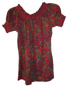 Ralph Lauren Peasant Boho Off Shirt Knit Soft T Shirt Red