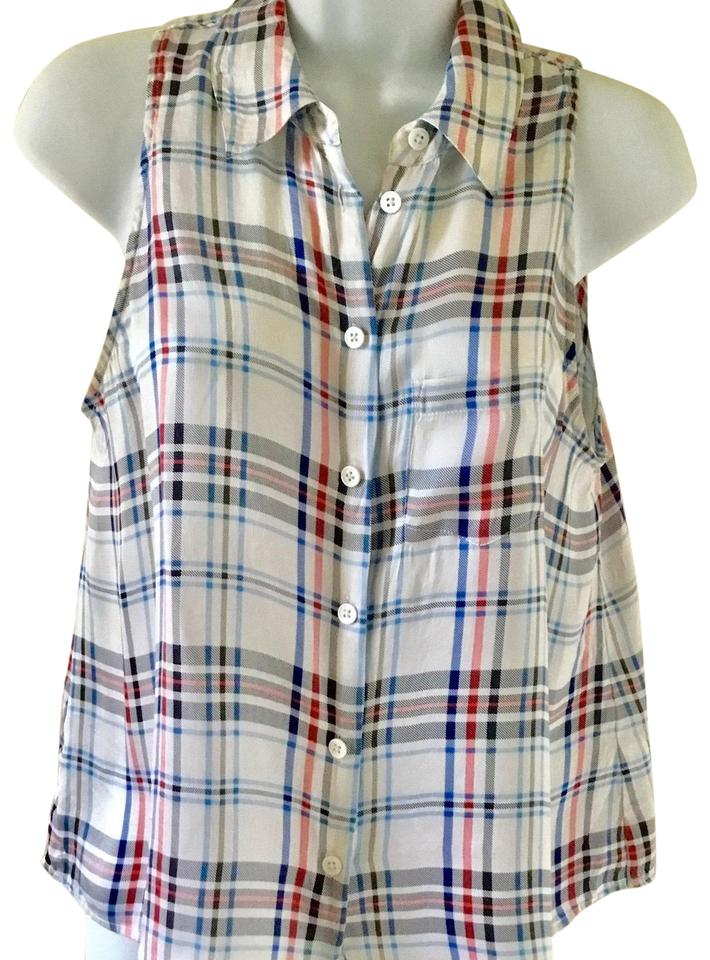 cbc2271f60f15 Equipment White Red and Blue Femme Silk Plaid Sleeveless Tank Blouse  157 S  Button-down Top