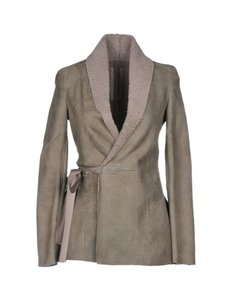 Rick Owens Sheepskin Wrap Tie Suede gray Jacket