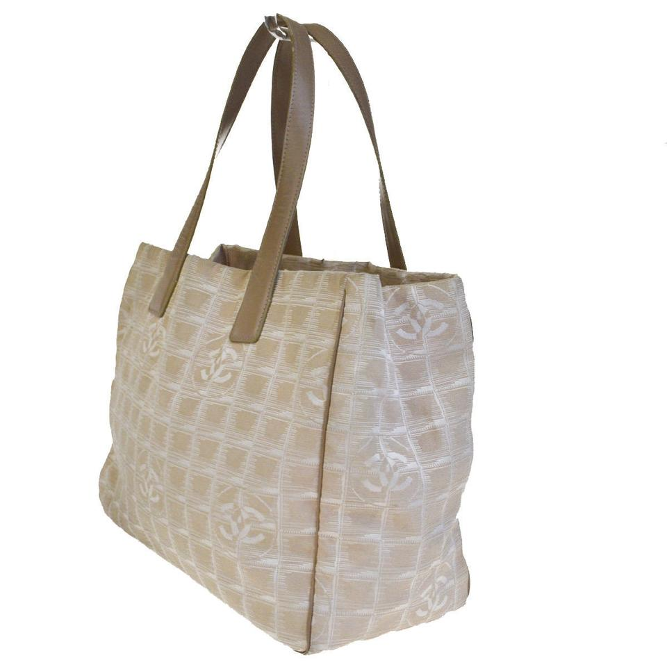 2e59ed61cd62 Chanel Tote Cc New Line Shoulder Mm Jacquard Be Vintage 02e Beige Leather  Weekend/Travel Bag - Tradesy