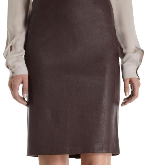 Item - Brown Lamb Leather Stretch Pencil Skirt Size 4 (S, 27)