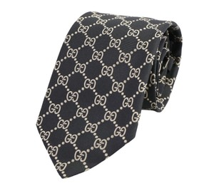 Gucci Black And Tan Gg Pattern Silk Tie/Bowtie