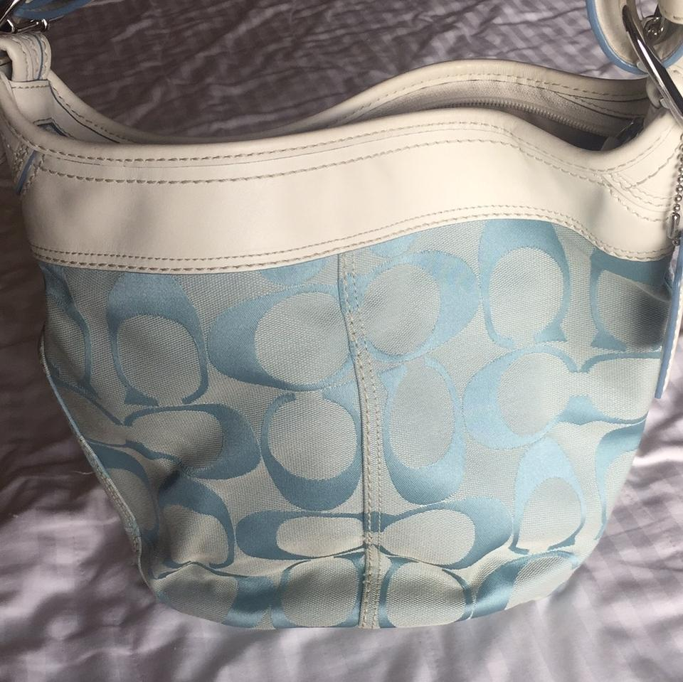d468fb1b72f Coach Bucket Logo Blue/White Canvas and Leather Hobo Bag - Tradesy