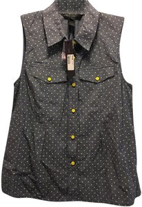 Marc by Marc Jacobs Sleeveless Cotton Summer Button Down Shirt Blue with polkadot