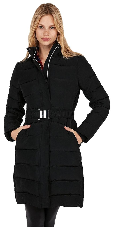 8f51aa669 Express Black Long Down Belted Smocked Puffer Jacket Coat Size 00 (XXS) 29%  off retail