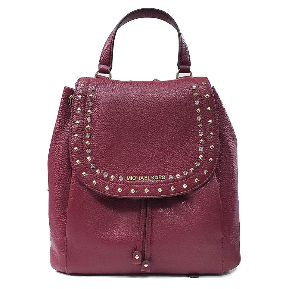 9c28f4b0328400 Michael Kors Riley Gold Studded Stone Drawstring Flap Mulberry Wine Red  Leather Backpack
