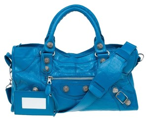 Balenciaga Leather Hand-stiched Fabric Tote in Blue