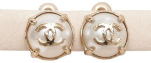 Chanel CHANEL Earrings Clip On Faux Pearl Gold CC Prong 2015