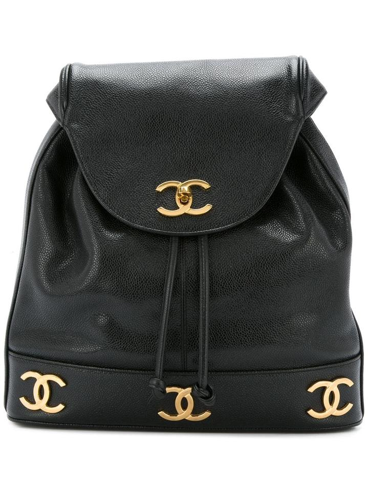 74be50ad1d7a Chanel Classic Flap Drawstring Vintage Cc Logo Black Caviar Leather ...