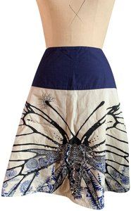 Oilily Artisan Collection Butterfly Beading Skirt Tan and blue