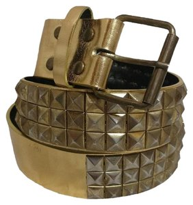 Hot Topic Gold Studded Grommet 3 Row Pyramid Belt Size Med