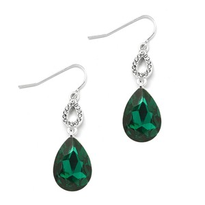 Mariell Emerald Green Crystal Teardrops Prom Or Bridesmaids Wire Earrings 4180e-em