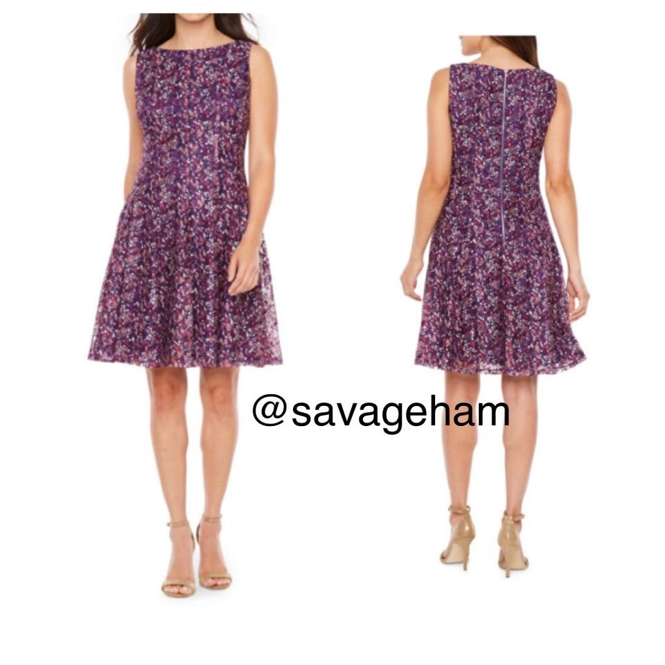 Danny Nicole Purple Sleeveless Lace Floral Fit Flare Mid Length Cocktail Dress Size 4 S 38 Off Retail