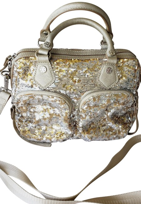 Item - Sequined Leather And Gold Nylon Cross Body Bag