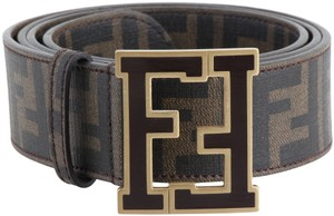 Fendi Fendi Zucca Canvas FF Buckle Brown Belt