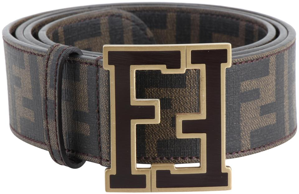f2f7d469 Fendi Brown Zucca Canvas Ff Buckle Belt 13% off retail