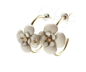 Chanel Chanel Gold Hoop Ivory Camellia Piercing Earrings
