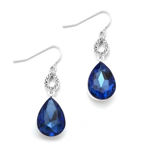 Mariell Royal Blue Crystal Teardrops Prom Or Bridesmaids Wire Earrings 4180e-ry