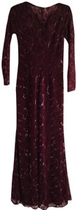 Carmen Marc Valvo Sequin Lace Mermaid Fitted Longsleeve Dress