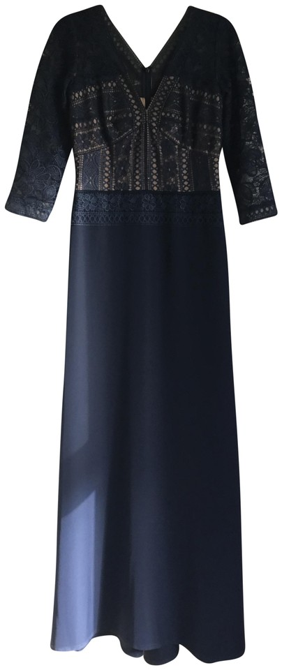 f15a1085ac7a Tadashi Shoji Navy/Nude V-neck Princess Sleeve Lace Illusion Gown Formal  Dress