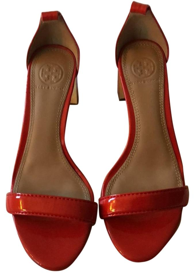 fdfaad1ab65219 Tory Burch Red Pattern Leather Sandals Pumps Size US 6 Regular (M
