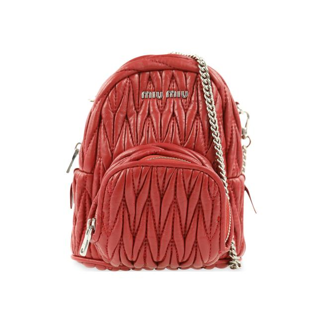Item - Quilted Mini Red Leather Backpack