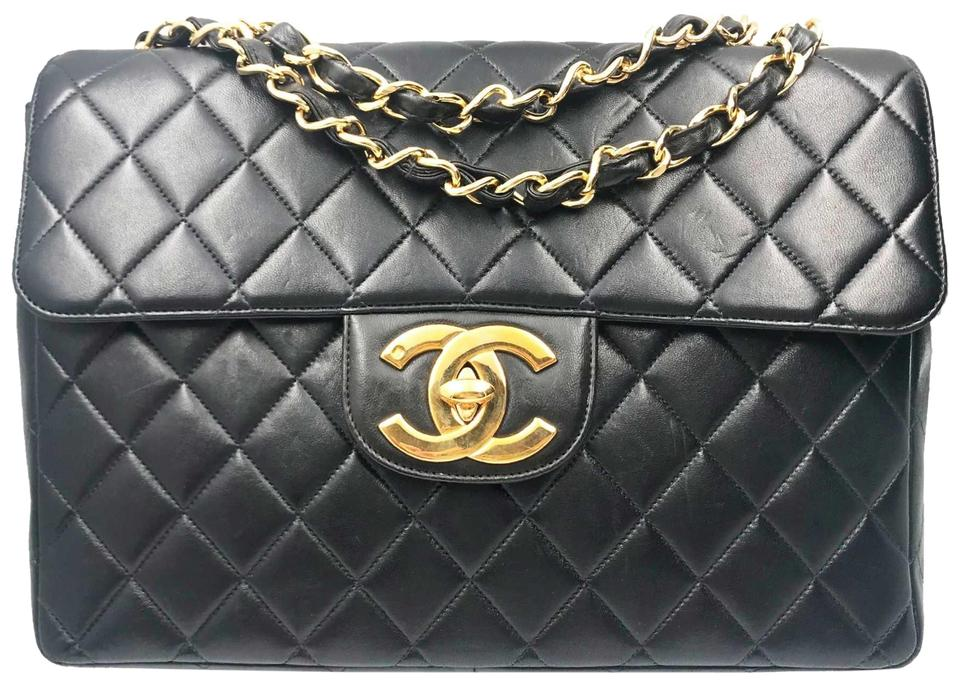 bf3995f55916a Chanel Flap Vintage Classic Timeless Jumbo Black Gold Lambskin ...